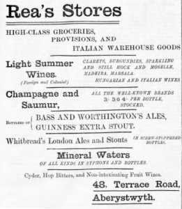 Advert for Rea\'s off-licence, Aberystwyth